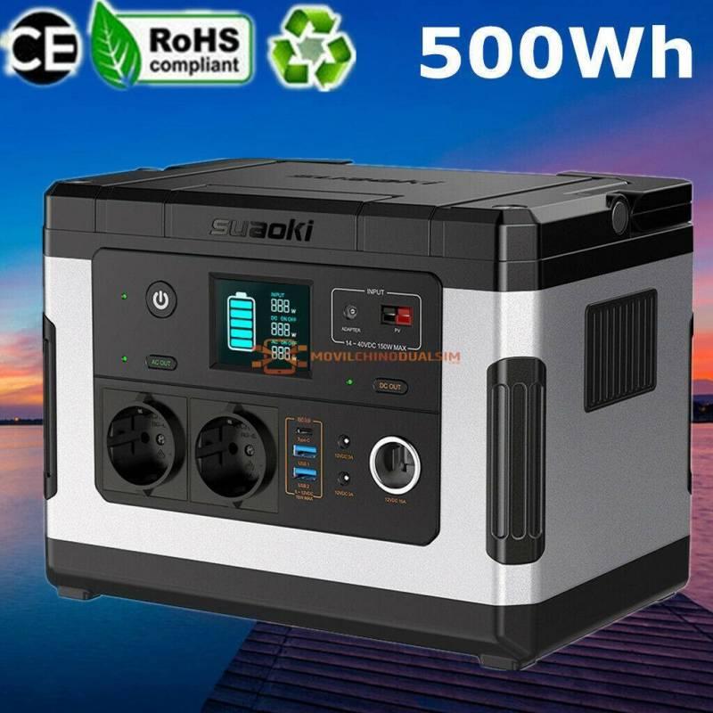 Fuente de alimentacion Suaoki 500Wh solar inversor de CA y CC toma de encendedor dispositivos electrónicos