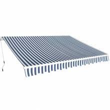 Precioso Toldo plegable de medida 350 cm color azul y blanco