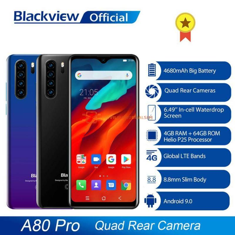 Movil chino Blackview A80 Pro Quad Version Global camara trasera Octa Core 4GB  64GB bateria 4680mAh