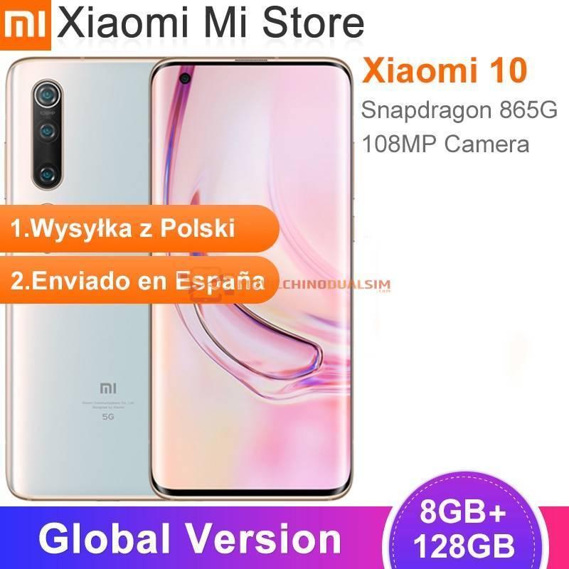 Movil chino Xiaomi Mi 10 Version Global 8GB 128GB 5G LPDDR5 USF 30 Snapdragon 865 Octa Core pantalla 6.6