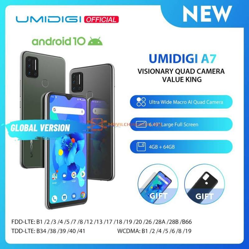 Movil chino UMIDIGI A7 Android 10 OS pantalla 6.49 4GB RAM 64GB ROM
