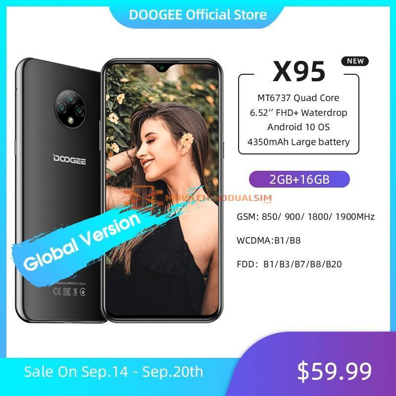 "Movil chino DOOGEE X95 pantalla 6.52"" MTK6737 16GB ROM Dual SIM 13MP Triple bateria 4350mAh"