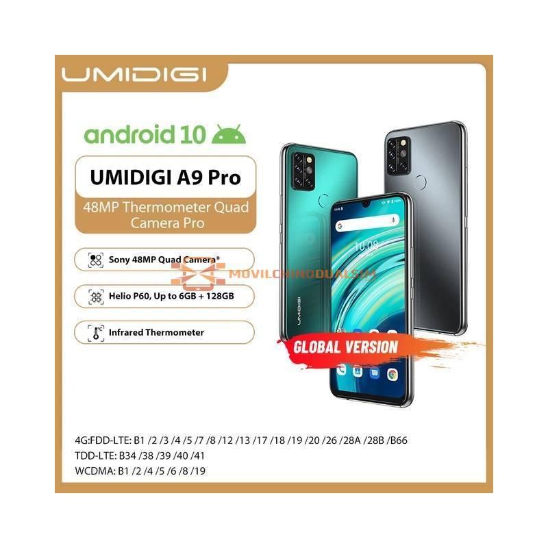 Movil chino Umidigi A9 Pro cámara Quad de 32/48MP, cámara Selfie de 24MP, 6GB RAM, ROM 128GB, pantalla 6,3 pulgadas