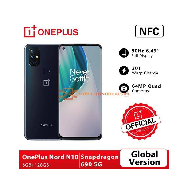 "Movil chino OnePlus Nord N10 version global 5G 6GB 128GB Snapdragon 690 pantalla 6.49"" 90Hz 64MP Cámaras cuádruples"