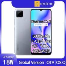 "Movil chino Realme C15 4GB RAM 64GB rom Android 10 pantalla HD de 6,5"" Helio G35 batería de 6000mAh"