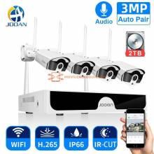Sistema de video vigilancia Jooan inalambrico de seguridad CCTV 8CH NVW 3 mp sistema de grabacion de audio para exteriores P2P