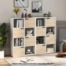 Preciosa Estantería organizadora de libros y DVD, estante de almacenamiento 4 niveles de madera para sala de estar y oficina