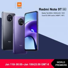 Movil chino Xiaomi Redmi Note 9T versión Global, 5G, 4GB y 64GB, NFC, bateria 5000mAh, cámara de 48MP