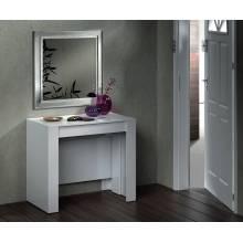 Preciosa Mesa de comedor, consola extensible mesa cocina, mesa escritorio color blanco brillo