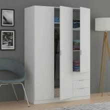 Fantastico armario ropero tres puertas y tres cajones color blanco mate