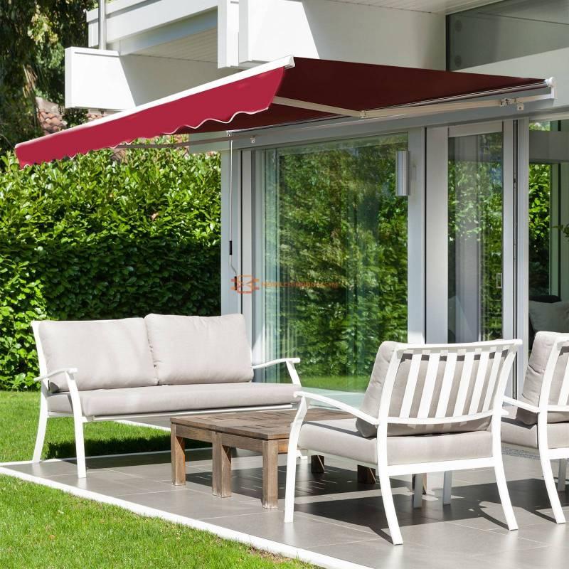 Toldo Manual Plegable de Aluminio Toldo Patio Balcón Terraza con Manivela Impermeable