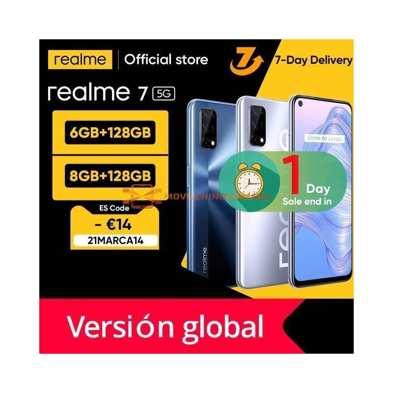 Movil chino Realme 7 5G Version global 6GB 128GB 120Hz pantalla de 48MP, bateria 5000mAh