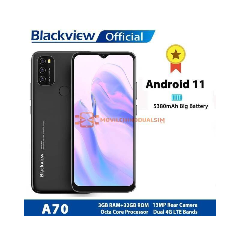 """Movil chino Blackview A70, Android 11, pantalla de 6.5"""" Octa Core, 3GB de RAM, 32GB de ROM, bateria 5380mAh 4G"""