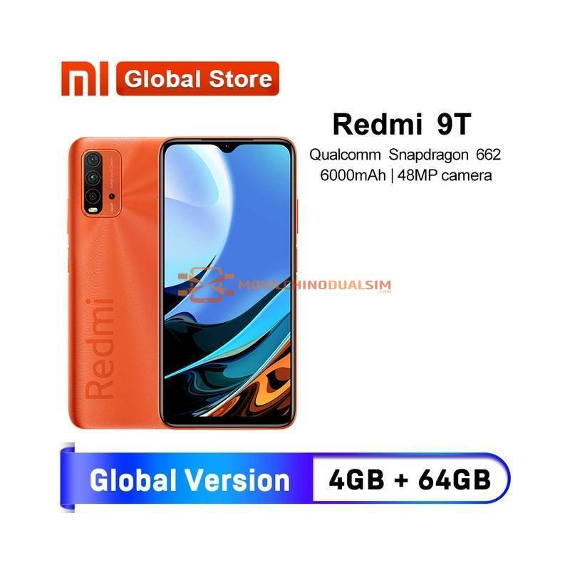 Movil chino Versión Global Xiaomi Redmi 9T 4GB 64GB / 4GB 128GB / 6GB 128GB Snapdragon 662 48MP bateria 6000mAh