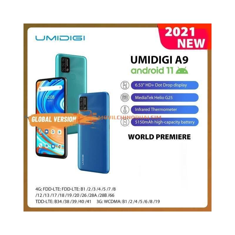 "Movil chino UMIDIGI A9, versión global, Android 11, camara de 13MP, Helio G25, ocho núcleos, 6,53"" bateria 5150mAh"