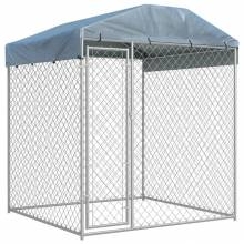 Preciosa perrera de exterior con techo PE con medidas de 193x193x225 cm