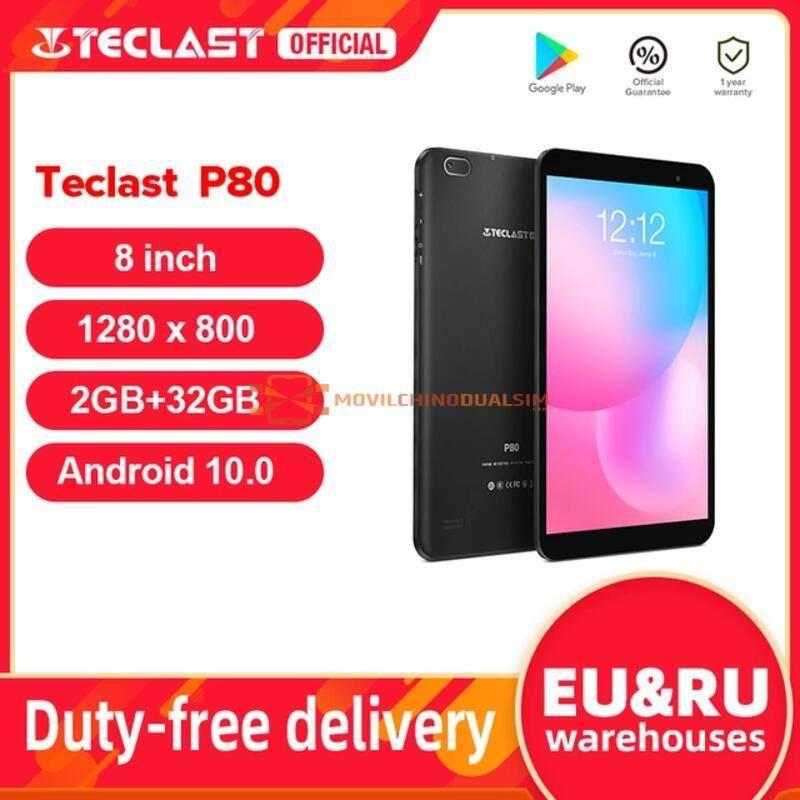 "Tablet China Teclast P80 pantall 8"" Android 10 2GB RAM 32GB ROM Allwinner A133 1280x800 IPS Quad Core Dual Wifi Bluetooth 5,0"