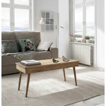Diseño retro de mesa de centro elevable, madera maciza natural.
