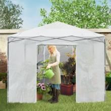 Mini invernadero con puerta enrollable protectora de PE y 4 ventanas para jardín interior y exterior Blanco 3 x 3 x 2,56-2,75 m
