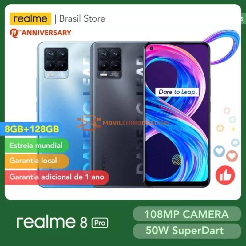 Movil chino Realme 8 Pro versión Global, 8GB, 128GB, cámara de 108MP, 50W, carga SuperDart AMOLED, compatible con B2/4