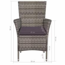 9 piezas de sillas y mesa de jardín material ratán sintético gris