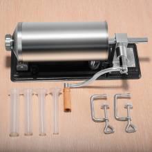 Máquina embutidora de acero inoxidable 4.8L, ensacadora manual con 4 tubos de llenado