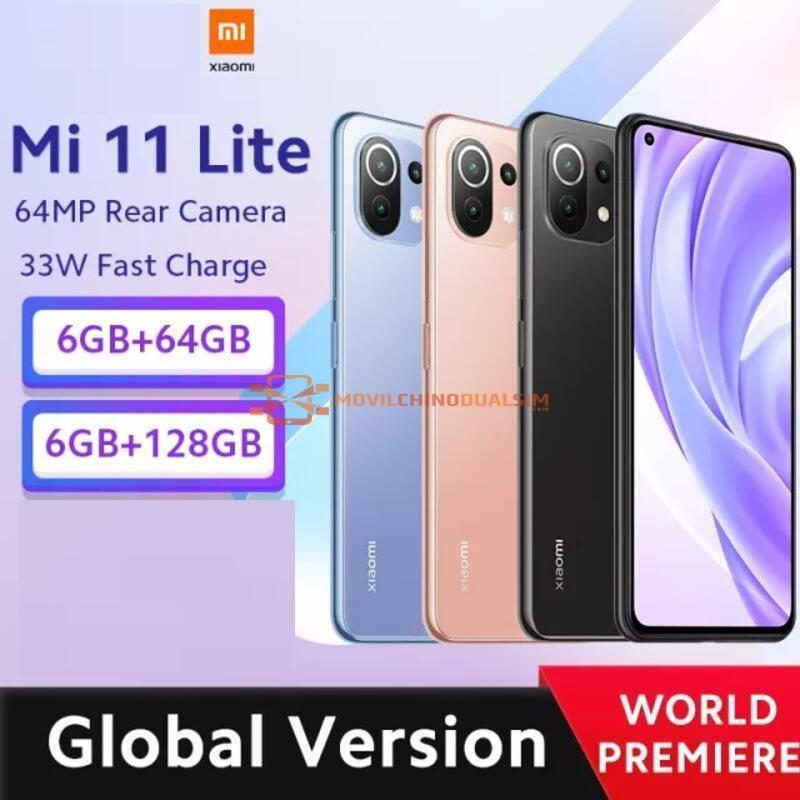 Movil chino Xiaomi Mi 11 Lite Global versión Snapdragon 732G Octa Core 64GB/128GB 64MP bateria 4520mAh NFC
