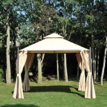 Cenador de Jardín 3x3m con Doble Techo 4 Cortinas Laterales Mejor Ventilación Exterior Espacioso para Fiesta Eventos