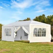 Carpa para banquetes pabellón de jardín de 6x3 m con 2 puertas, 4 paredes laterales móviles