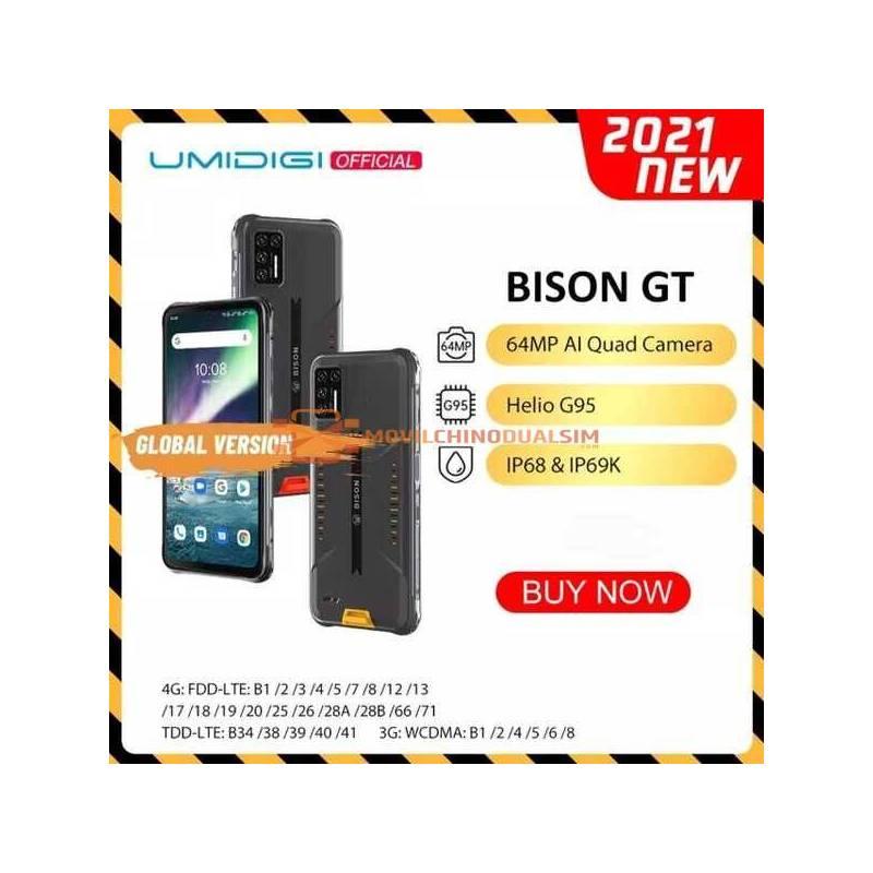 Movil chino UMIDIGI BISON GT resistente al agua, IP68/IP69K, Helio G95, cámara de 64MP, 8GB + 128GB, pantalla de 6,67 pulgadas