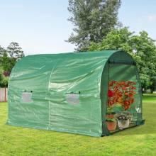 Jardín invernadero huerto túnel tipo 4 ventana cultivo vegetal PE cubierta 140g / ㎡ impermeable 3x2x1.9m acero