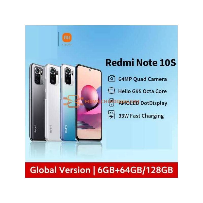 "Movil chino Xiaomi Redmi Note 10S Versión Global 64MP Quad Cámara Helio G95 6,43 ""AMOLED DotDisplay bateria 5000mAh"