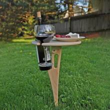 Mesa de vino al aire libre con mesa redonda plegable, mini mesa de picnic de madera maciza, fácil de transportar