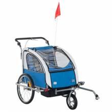 Remolque infantil bicicleta 2 PLAZAS Ruedas giratorias 360 ° y amortiguador con varilla