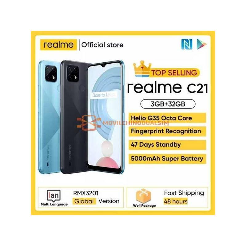 Movil chino Realme C21 versión Global, Helio G35, Octa Core, pantalla 6,5 pulgadas, batería 5000mAh, cámara de 13MP