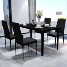 Juego de mesa y sillas de comedor 5 piezas en color negro
