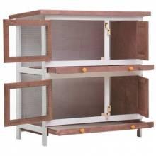 Jaula para conejos con 4 puertas de madera marrón