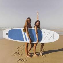 Tabla de paddle surf hinchable antideslizante regulable y accesorios completos 120 kg 305x80x15 cm azul y blanco