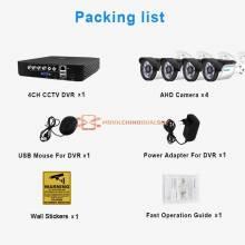 Sistema de video vigilancia CCTV de 4 canales 5 en 1 kit con camaras AHD de seguridad exterior alarma por correo electrónico
