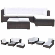 Juego de muebles de jardín conjunto de 5 piezas y cojínes ratán sintético gris o marron