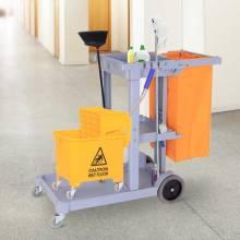 Carro de limpieza multifuncional profesional 100L con 3 bandejas y 1 bolsa plataforma 113x50,5x96,5cm + cubo de fregar