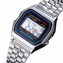 Reloj digital retro vintage clásico de metal para hombres y mujeres