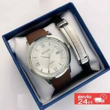 Conjunto reloj chino hombre con pulsera acero inox y caja para regalo perfecto