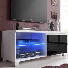 Mueble Módulo TV de salón, módulo LED, lacado blanco y negro