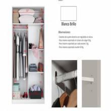 Armario con puertas correderas con barra de colgar color blanco