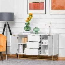 Mueble auxiliar de almacenamiento aparador con 3 cajones y 2 armarios con puertas 120x40x76 cm blanco