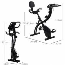 Bicicleta estática ergométrica plegable regulable en altura y resistencia con pantalla LCD y asiento con respaldo