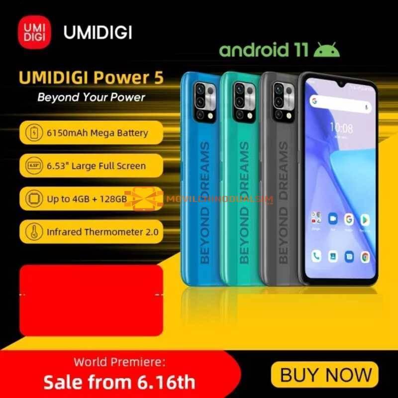 "Movil chino UMIDIGI Power 5 versión Global, Android 11, Helio G25, cámara Triple ia de 16MP, 6150mAh, pantalla completa de 6,53"""
