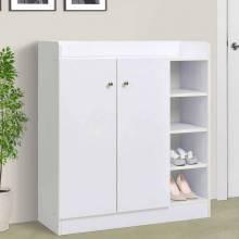 Zapatero armario de 2 puertas 4 estantes interno ajustable 83x30x90cm blanco