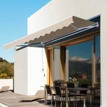 Toldo plegable manual de aluminio 3,5x2,5m toldo terraza balcón terraza con manivela impermeable